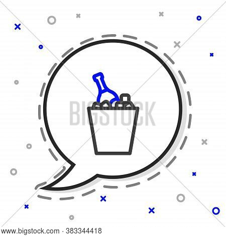 Line Bottle Of Champagne In An Ice Bucket Icon Isolated On White Background. Colorful Outline Concep
