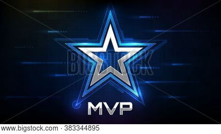 Abstract Glowing Background Of Blue Star And Mvp(most Valuable Player) Sign