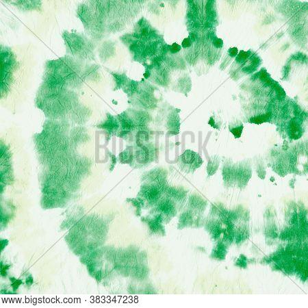 Tie Dye Circular. Batik Watercolor Design. Abstract Swirl Painting. Green Tie Die Paint. Spiral Colo