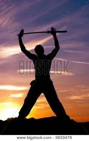 Man Samurai Sword Sky
