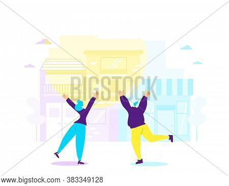 Joyful Scene. Two Mates Waving Their Hands And Have Fun In The Street. Young Women Jumping With Rais