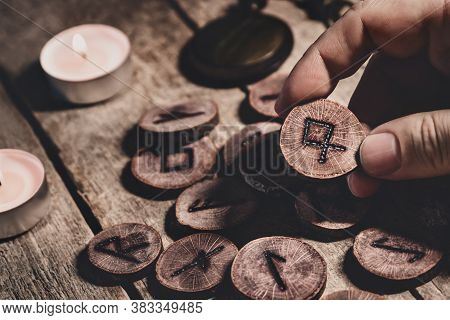 Hand Holding Wooden Runesor Futhark, Esoteric And Spirituality, Reading And Fortuneteller, Details