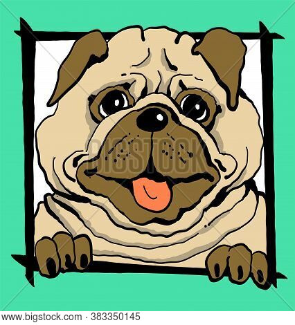 Vector Illustration. Sketch. Funny Portrait Of A Dog In A Frame On A Green Background. Print For Clo