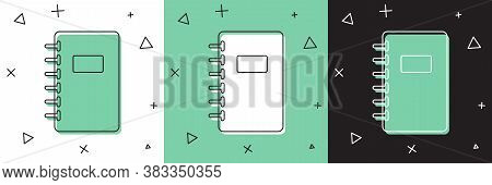 Set Notebook Icon Isolated On White And Green, Black Background. Spiral Notepad Icon. School Noteboo