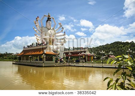 big buddha statue in lake temple bophut near chaweng on koh samui island in the gulf of thailand poster