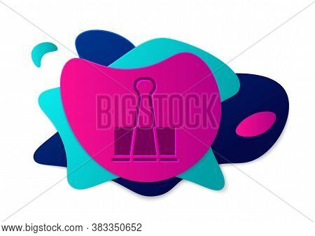 Color Binder Clip Icon Isolated On White Background. Paper Clip. Abstract Banner With Liquid Shapes.