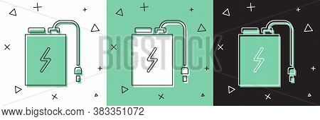 Set Power Bank With Different Charge Cable Icon Isolated On White And Green, Black Background. Porta
