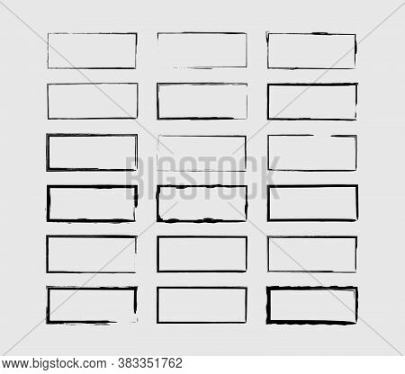 Set Of Black Rectangle Grunge Frames. Geometric Empty Borders Collection. Vector Illustration.