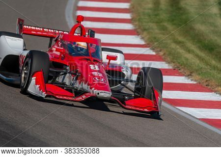 August 28, 2020 - Madison, Illinois, USA: MARCUS ERICSSON (8) of Kumla, Sweden  practices for the Bommarito Automotive Group 500 at the World Wide Technology Raceway in Madison, Illinois.