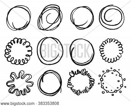 Scribble Circle. Art Hand Drawn Scribble Circle Shape Icon Isolated Set On White Background. Vector