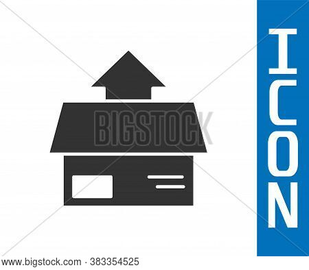 Grey Carton Cardboard Box Icon Isolated On White Background. Box, Package, Parcel Sign. Delivery And