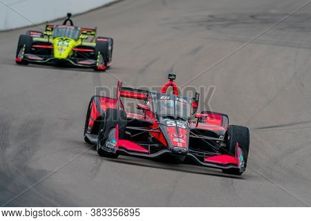 August 29, 2020 - Madison, Illinois, USA: ALEX PALOU (R) (55) of Barcelona, Spain  races through the turns during the  race for the Bommarito Automotive Group 500 at World Wide Technology Raceway
