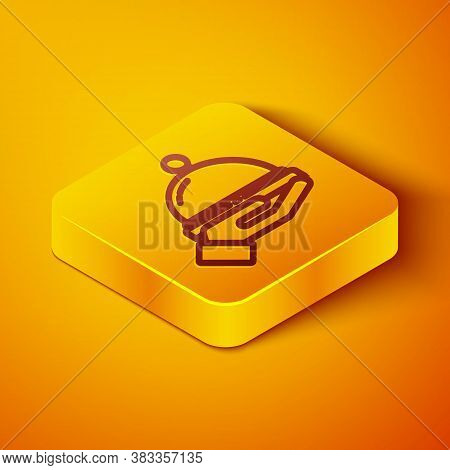 Isometric Line Covered With A Tray Of Food Icon Isolated On Orange Background. Tray And Lid Sign. Re