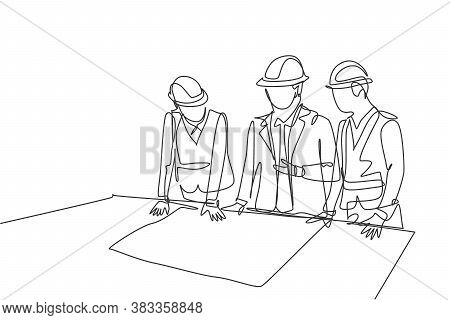One Continuous Line Drawing Team Of Young Architects Presenting Construction Sketch Draft Blueprint