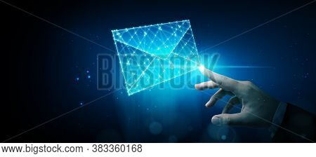 Businessman Touching Wireframe E-mail. Email Marketing, Newsletter, Contact Us Concept