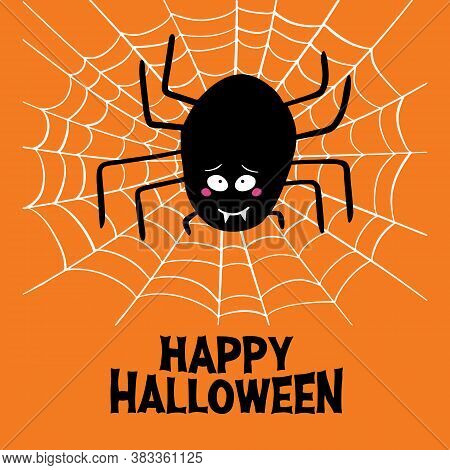 Cute Cartoon Black Spider With Guilty Look, White Cobweb And Happy Halloween Lettering On Orange Bac
