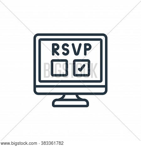 rsvp icon isolated on white background from event management collection. rsvp icon trendy and modern