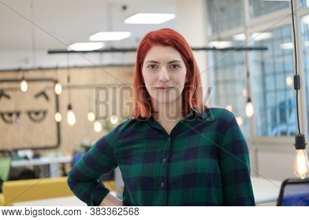 redhead business woman portrait  in creative modern coworking startup open space office