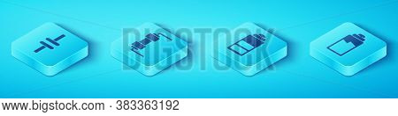 Set Isometric Electric Circuit Scheme, Resistor Electricity, Battery Charge Level Indicator And Batt