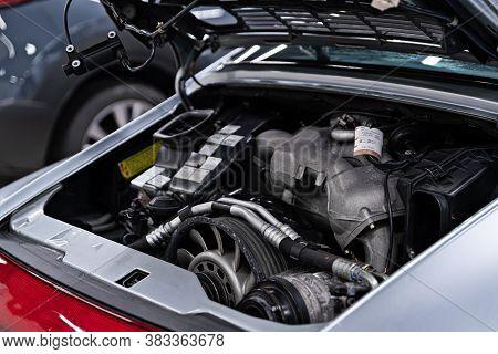 Vintage Sport Car Engine. Engine In Old Sport Car