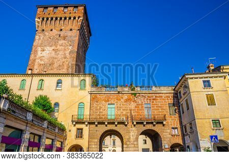 Porta Castello Tower Torre And Gate Terrazza Torrione Brick Building In Old Historical City Centre O