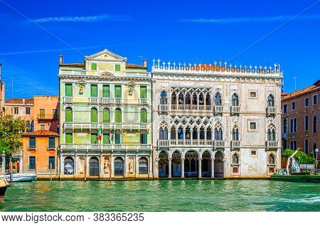 Palazzo Giusti Palace Building In Cannaregio Sestiere From Grand Canal Waterway In Venice Historical