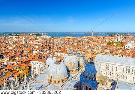 Aerial Panoramic View Of Venice City Historical Centre With Old Buildings Red Tiled Roofs, Basilica