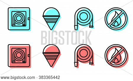 Set Line Fire Hose Reel, Fire Hose Cabinet, Fire Cone Bucket And No Fire Icon. Vector