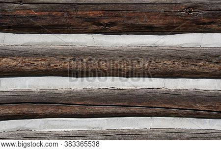 Horizontal Wood Texture Of Lumber With Concrete Cement Ridges For Backgrounds And Design Elements.