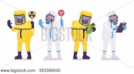 Man In Hazmat Disposable Coverall With Radiation Sign Writing. Workers In Level A, C Suit, Chemical
