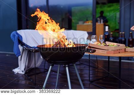 Bbq Grill Flame, Hot Burning Grill Outdoors Cooking Food. Grill Burning Fire For Barbecue Cooking Ou