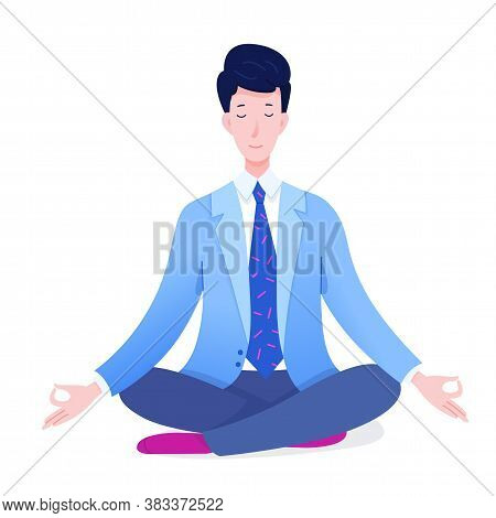 Peaceful Office Manager Meditating Sitting In Lotus Pose. Businessman Doing Yoga Exercise. Effective