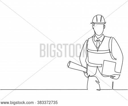 One Single Line Drawing Of Young Architect Holding Draft Blueprint Design Roll Paper And A Clipboard