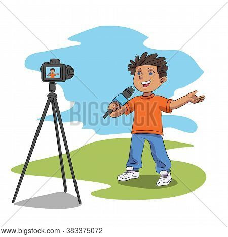 Vector Happy Boy Talking In Microphone Shooting Video Content On Nature For Blog. Digital Camera On