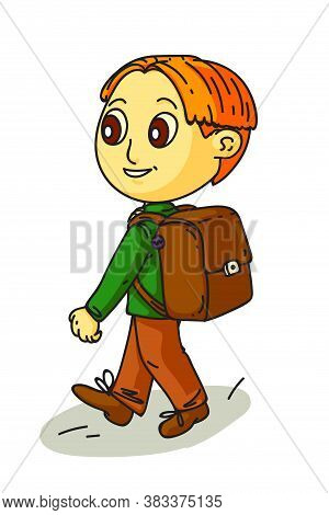 Vector Cute Smiling Little Schoolboy With Backpack Walking, View From Back. Child Going Crossing Roa
