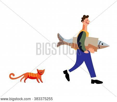 Happy Man Fisher Character Walking With Fish Wrapped In Paper In Hand. Red Cat Domestic Animal. Vect