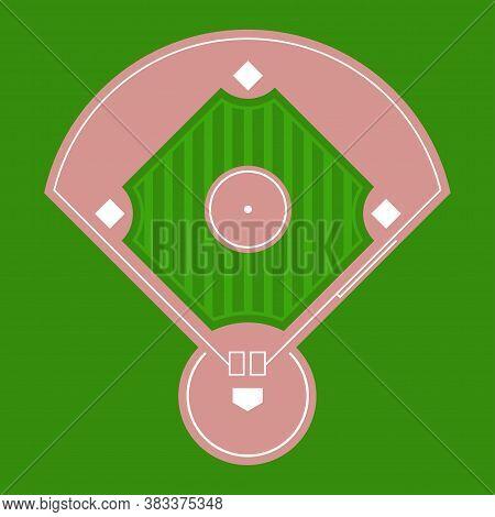 Baseball Diamond Field Top View. Vector Flat Illustration.