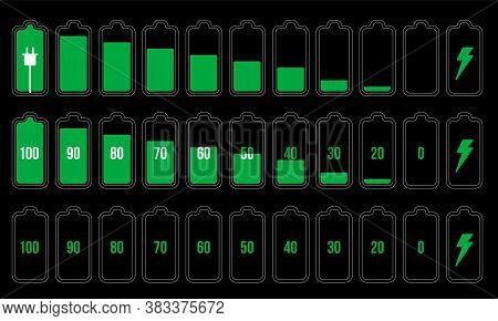 Battery Indicator Set. Isolated Electric Battery Charge Full, Low, Empty Levels And Charging Progres