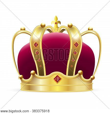 Crown Logo. Isolated Realistic Royal Gold Crown With Red Velvet And Ruby Jewels. Vector Classic King