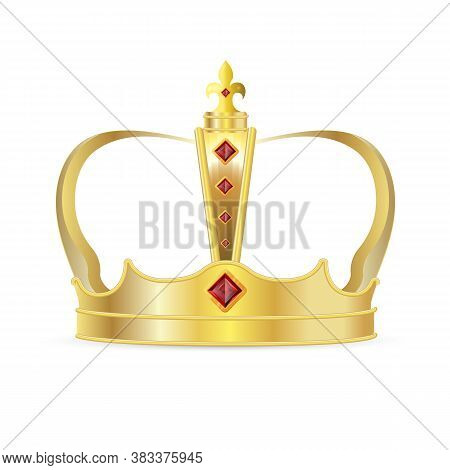 Royal Crown. Isolated Realistic Royal Gold Crown With Red Ruby Gems Icon. Vector King Or Queen Crown