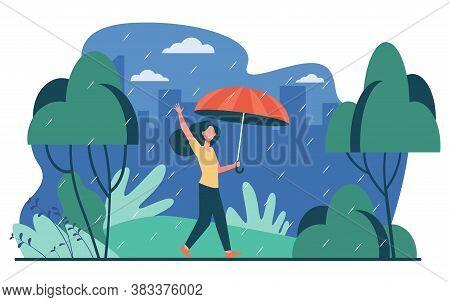 Happy Woman Walking In Rainy Day With Umbrella Isolated Flat Vector Illustration. Cartoon Female Cha