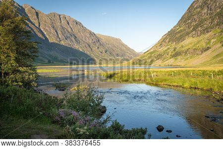 Scenic View Of Loch Achtriochtan And River Coe In Glen Coe, Scottish Highlands, Uk. Tranquil Scene,