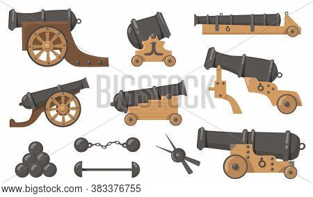 Medieval Cannons With Cannonballs Flat Illustration Set. Cartoon Metal And Wooden Weapon For Old Shi