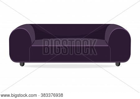 Luxury Couch. Isolated Comfortable Couch Seat Icon. Luxury Style Living Room Sofa Front View. Vector
