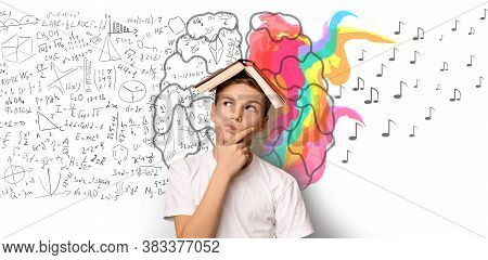 Brainwork Concept. School Boy Thinking Holding Book On Head Standing Over White Background With Brai