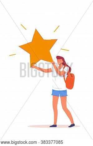 User Experience Feedback. Happy Woman User, Customer, Follower Or Subscriber Giving Star. Female Cha