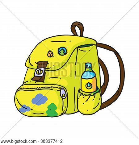 Travel Backpack. Isolated Cartoon Yellow Travel Backpack With Drink Bottle Doodle Icon. Backpacker B