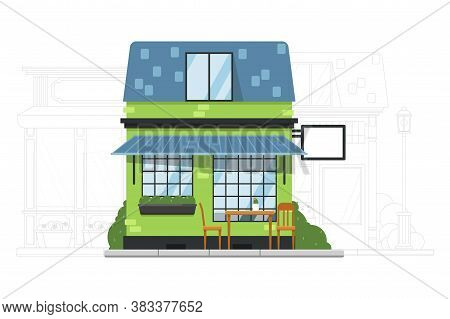 House Building. Small Suburb House. Vector Cafe Or Hostel Residential Apartment Building Exterior. A