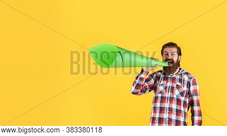 Mature Crazy Mad Man Pose With Megaphone. Announcement Concept. Stop Being Silent. Hipster Screaming