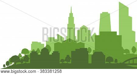 Green Heart Of City Outline With Skyscrapers And Residential Houses On White Background, Vector Illu